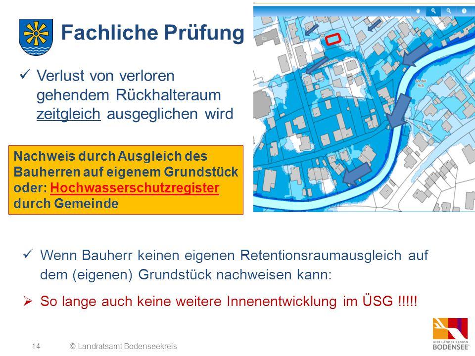 14 Fachliche Prüfung Nachweis durch Ausgleich des Bauherren auf eigenem Grundstück oder: Hochwasserschutzregister durch Gemeinde © Landratsamt Bodense