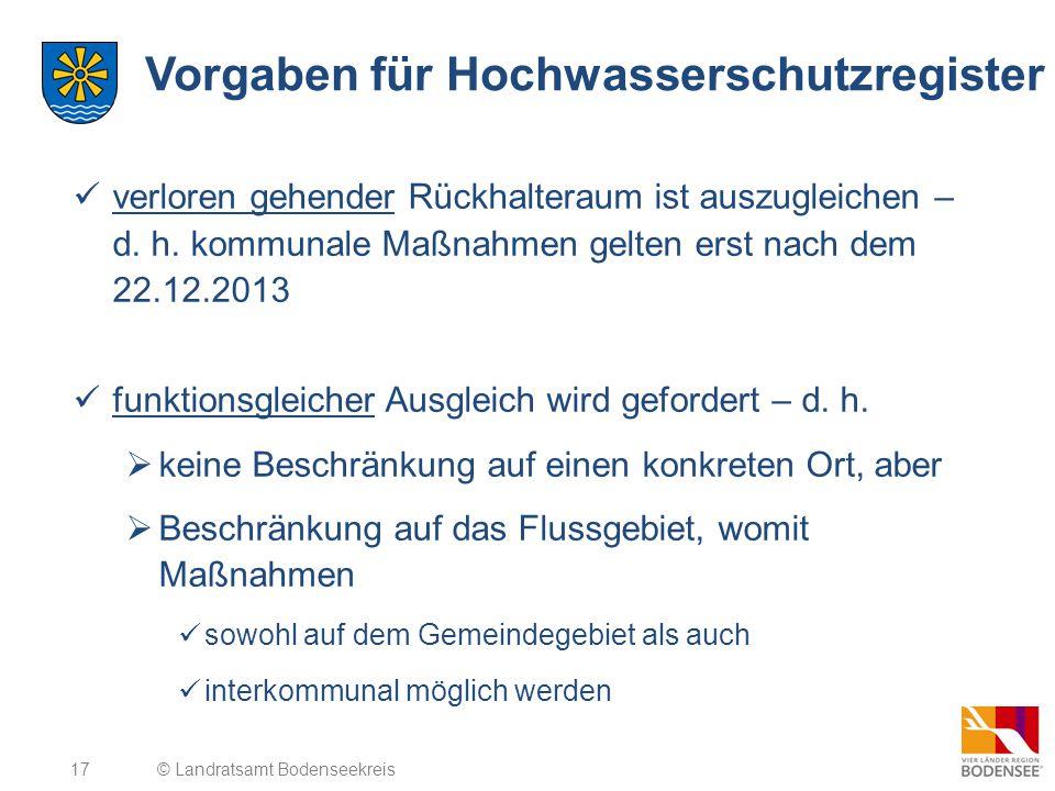 17 Vorgaben für Hochwasserschutzregister verloren gehender Rückhalteraum ist auszugleichen – d. h. kommunale Maßnahmen gelten erst nach dem 22.12.2013