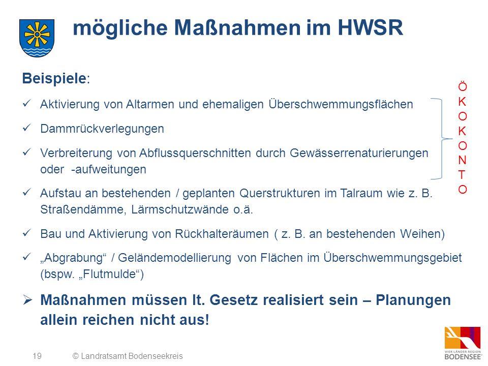 19 mögliche Maßnahmen im HWSR Beispiele: Aktivierung von Altarmen und ehemaligen Überschwemmungsflächen Dammrückverlegungen Verbreiterung von Abflussq