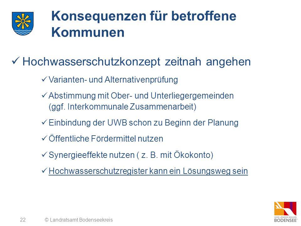 22 Konsequenzen für betroffene Kommunen Hochwasserschutzkonzept zeitnah angehen Varianten- und Alternativenprüfung Abstimmung mit Ober- und Unterliege