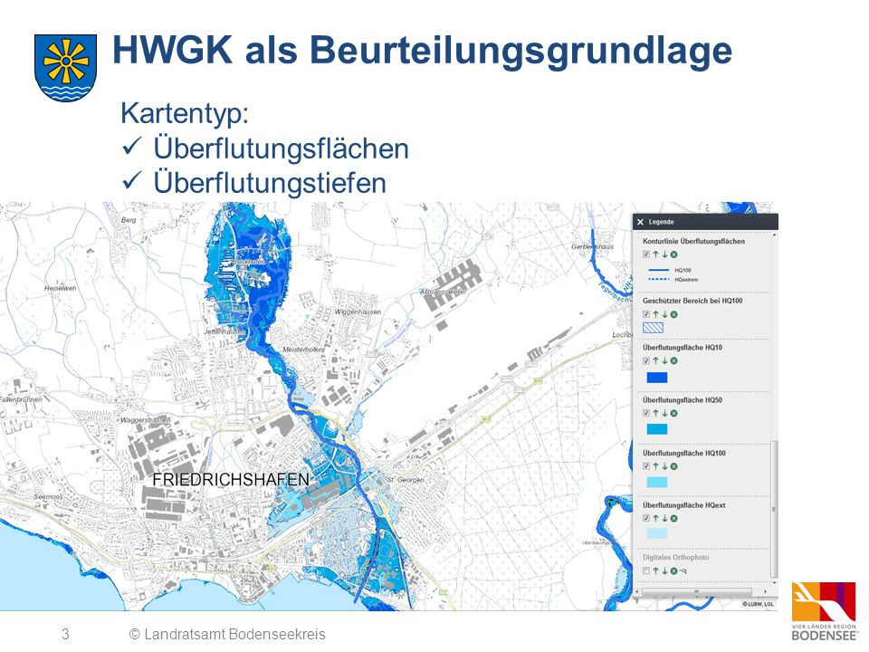 3 HWGK als Beurteilungsgrundlage © Landratsamt Bodenseekreis Kartentyp: Überflutungsflächen Überflutungstiefen