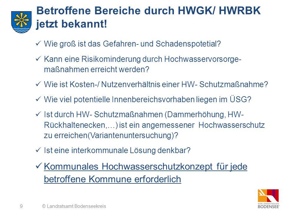 9 Betroffene Bereiche durch HWGK/ HWRBK jetzt bekannt! © Landratsamt Bodenseekreis Wie groß ist das Gefahren- und Schadenspotetial? Kann eine Risikomi
