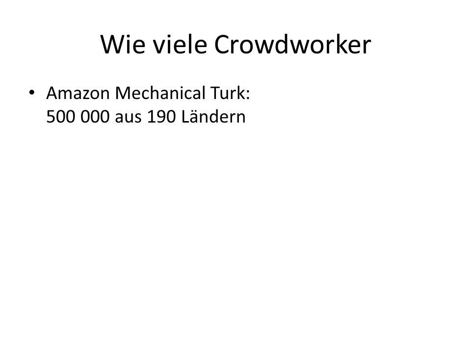 Wie viele Crowdworker Amazon Mechanical Turk: 500 000 aus 190 Ländern Clickworker: 500 000 Deutschland, Nord- und Südamerika, Resteuropa