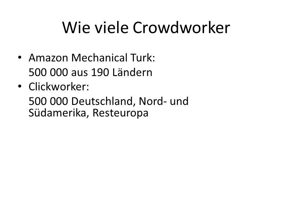 Wie viele Crowdworker Amazon Mechanical Turk: 500 000 aus 190 Ländern Clickworker: 500 000 Deutschland, Nord- und Südamerika, Resteuropa Crowdguru: 15 000 Menschen