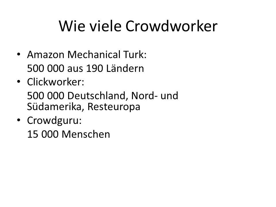Wie viele Crowdworker Amazon Mechanical Turk: 500 000 aus 190 Ländern Clickworker: 500 000 Deutschland, Nord- und Südamerika, Resteuropa Crowdguru: 15 000 Menschen Crowdflower: Schafft in 24 Stunden die Arbeit, für die ein Angestellter fünf Jahre brauchen würde