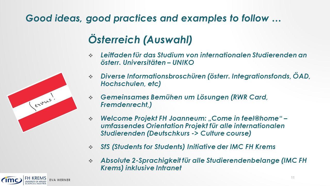 EVA WERNER 11 Österreich (Auswahl)  Leitfaden für das Studium von internationalen Studierenden an österr.