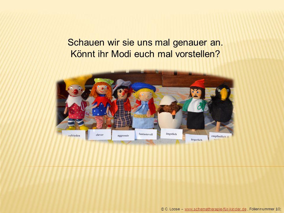 Schauen wir sie uns mal genauer an. Könnt ihr Modi euch mal vorstellen? © C. Loose – www.schematherapie-für-kinder.de, Foliennummer 10;www.schemathera