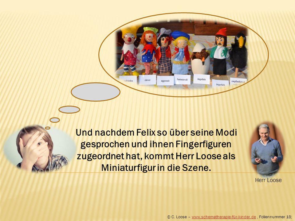 Und nachdem Felix so über seine Modi gesprochen und ihnen Fingerfiguren zugeordnet hat, kommt Herr Loose als Miniaturfigur in die Szene. © C. Loose –