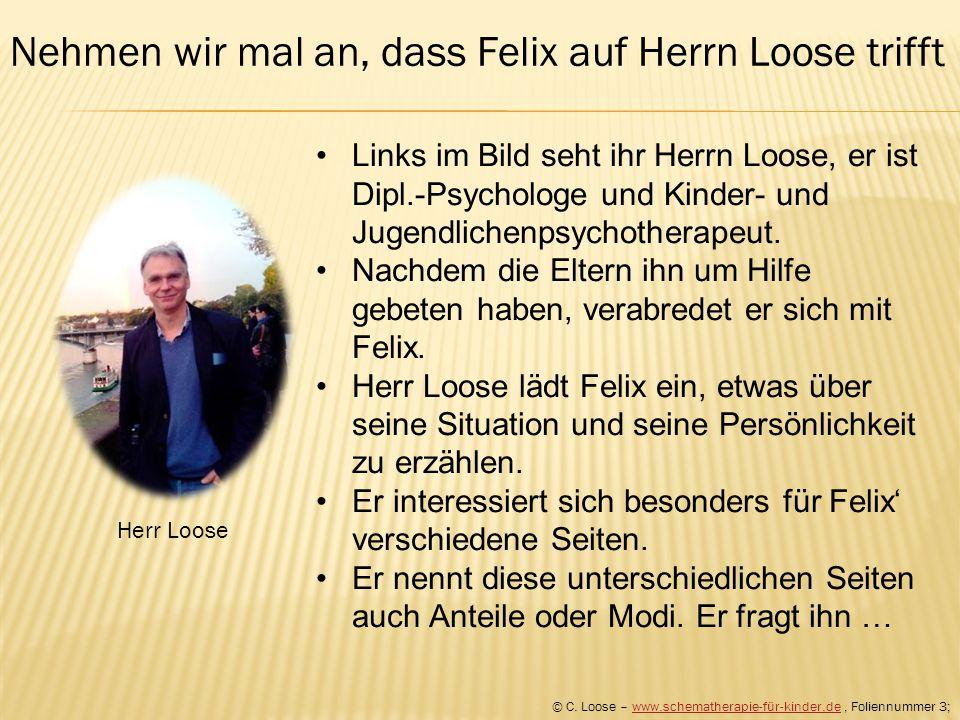 Herr Loose Links im Bild seht ihr Herrn Loose, er ist Dipl.-Psychologe und Kinder- und Jugendlichenpsychotherapeut. Nachdem die Eltern ihn um Hilfe ge