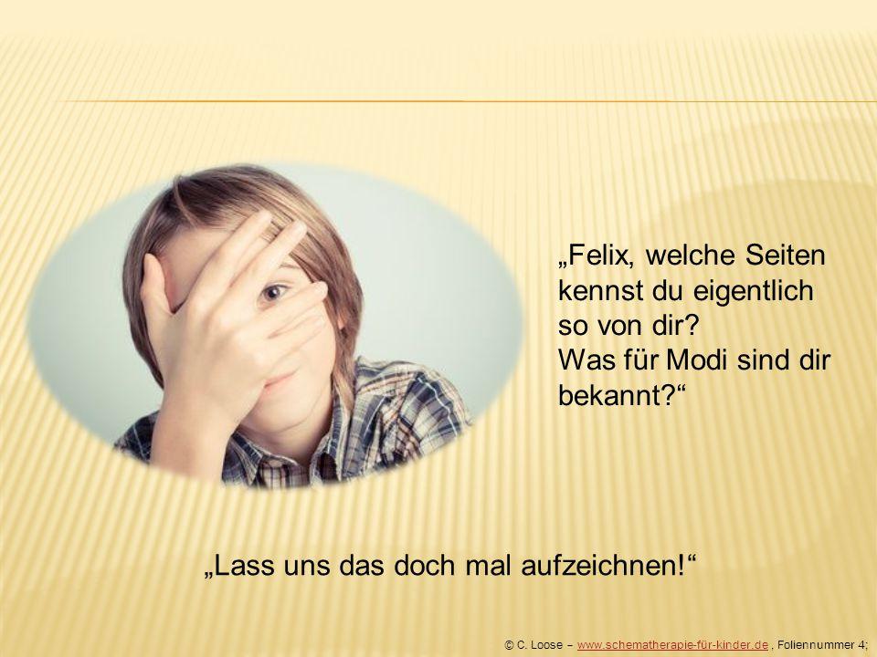 """""""Felix, welche Seiten kennst du eigentlich so von dir? Was für Modi sind dir bekannt?"""" © C. Loose – www.schematherapie-für-kinder.de, Foliennummer 4;w"""