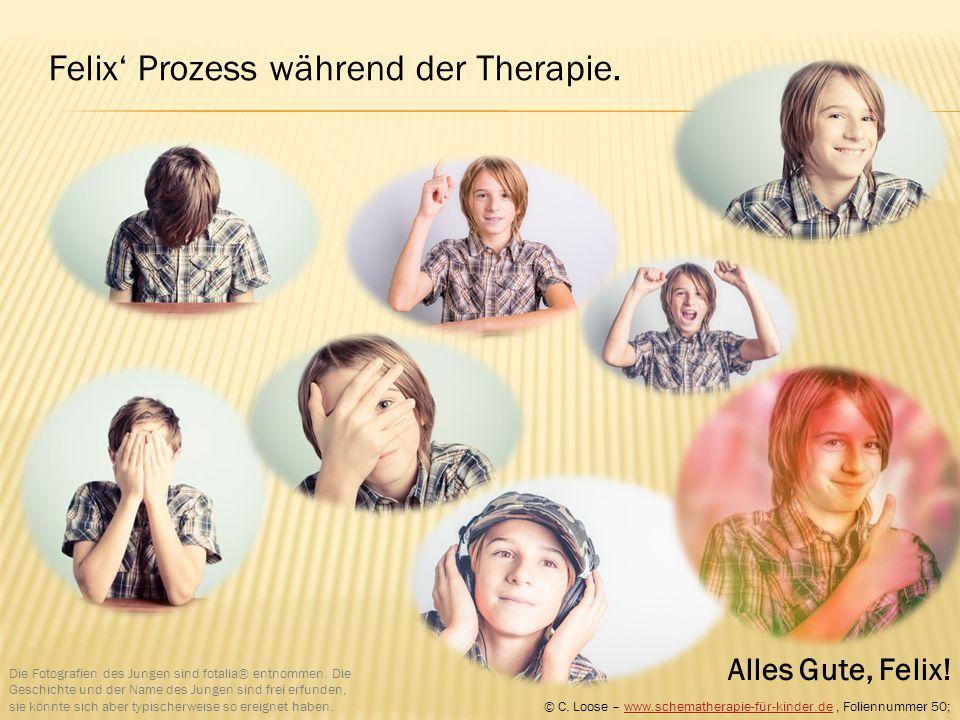 Felix' Prozess während der Therapie. Die Fotografien des Jungen sind fotalia® entnommen. Die Geschichte und der Name des Jungen sind frei erfunden, si