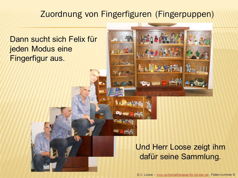 Dann sucht sich Felix für jeden Modus eine Fingerfigur aus. Und Herr Loose zeigt ihm dafür seine Sammlung. © C. Loose – www.schematherapie-für-kinder.