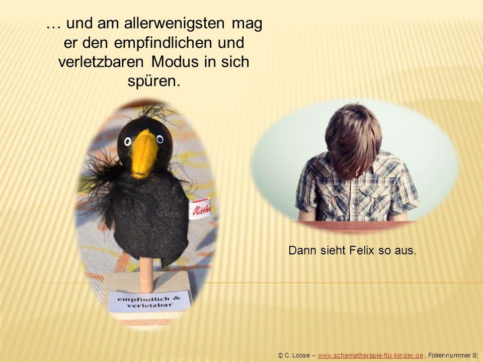 … und am allerwenigsten mag er den empfindlichen und verletzbaren Modus in sich spüren. © C. Loose – www.schematherapie-für-kinder.de, Foliennummer 8;