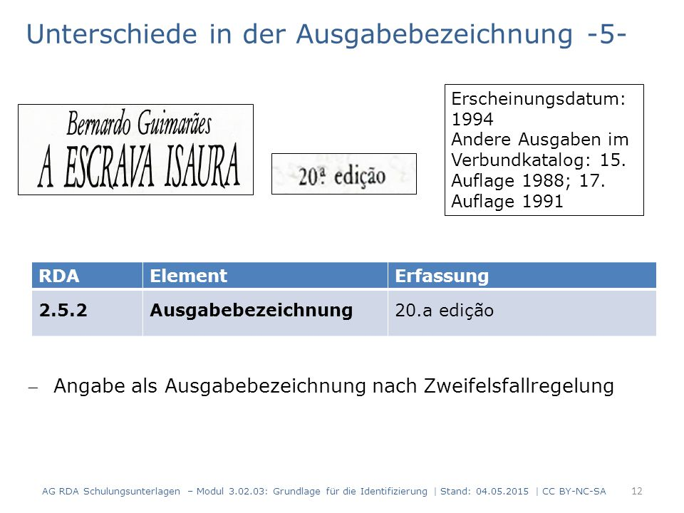 Unterschiede in der Ausgabebezeichnung -5- AG RDA Schulungsunterlagen – Modul 3.02.03: Grundlage für die Identifizierung | Stand: 04.05.2015 | CC BY-N
