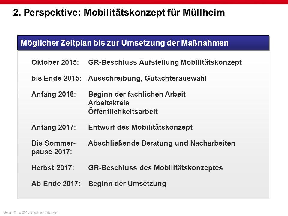 Seite 10© 2015 Stephan Kritzinger 2. Perspektive: Mobilitätskonzept für Müllheim Möglicher Zeitplan bis zur Umsetzung der Maßnahmen Oktober 2015:GR-Be