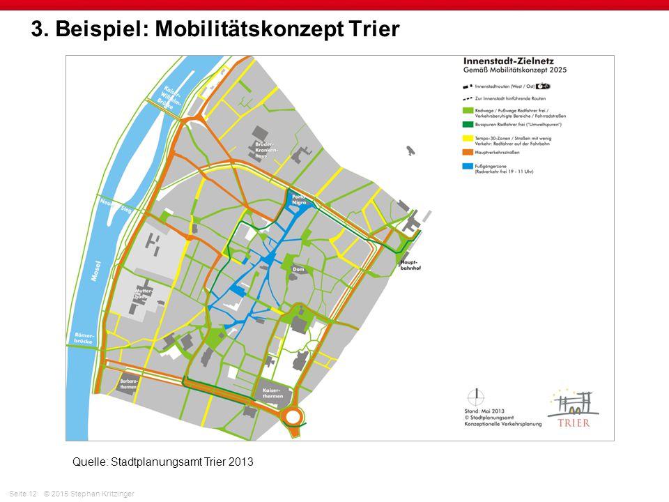 Seite 12© 2015 Stephan Kritzinger 3. Beispiel: Mobilitätskonzept Trier Quelle: Stadtplanungsamt Trier 2013