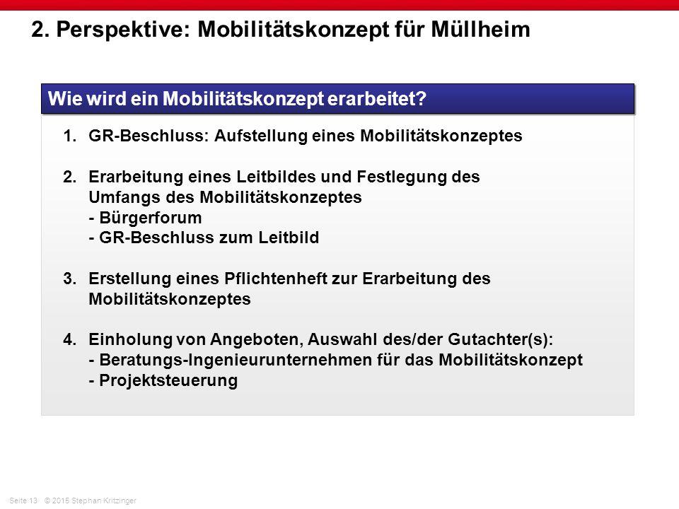Seite 13© 2015 Stephan Kritzinger 2. Perspektive: Mobilitätskonzept für Müllheim Wie wird ein Mobilitätskonzept erarbeitet? 1.GR-Beschluss: Aufstellun
