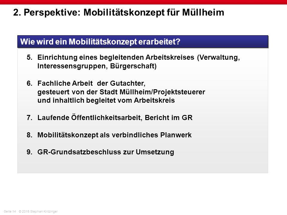 Seite 14© 2015 Stephan Kritzinger 2. Perspektive: Mobilitätskonzept für Müllheim Wie wird ein Mobilitätskonzept erarbeitet? 5.Einrichtung eines beglei