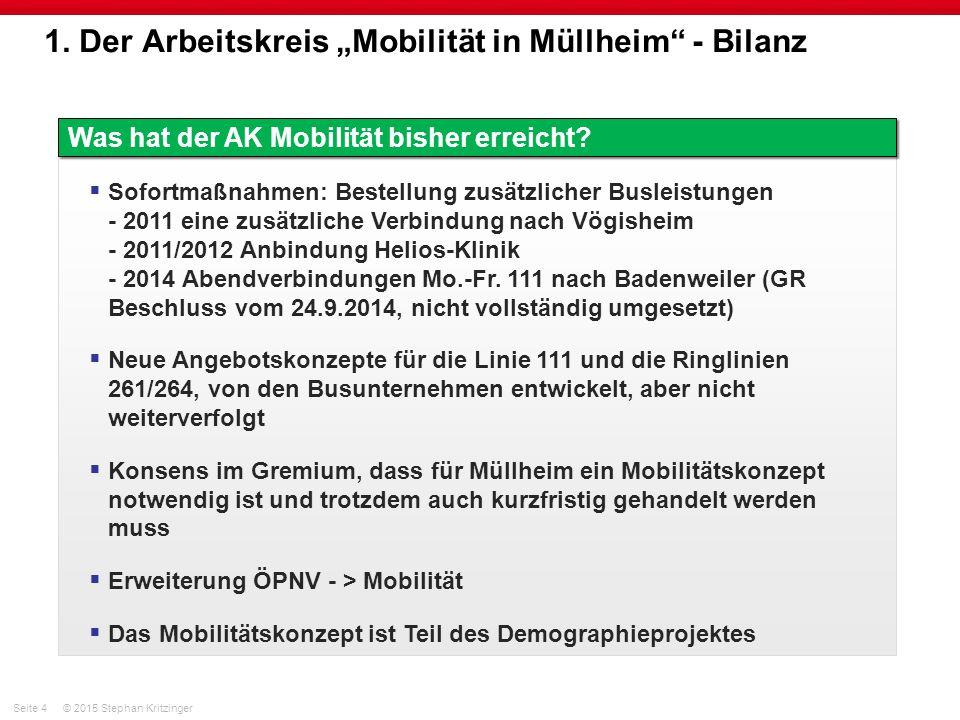 """Seite 4© 2015 Stephan Kritzinger 1. Der Arbeitskreis """"Mobilität in Müllheim"""" - Bilanz Was hat der AK Mobilität bisher erreicht?  Sofortmaßnahmen: Bes"""