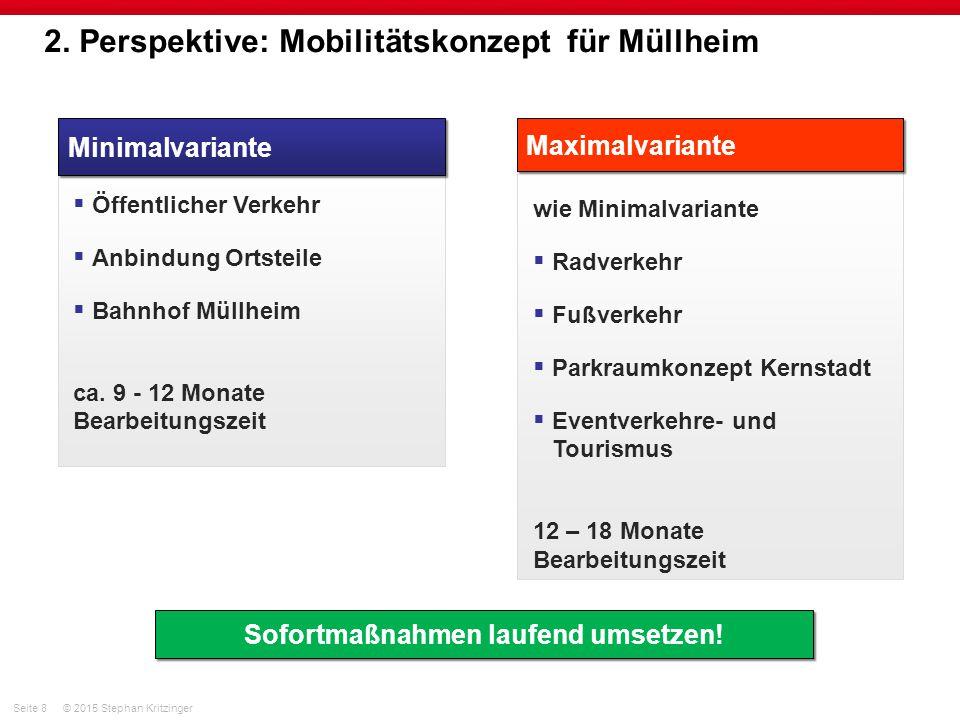 Seite 8© 2015 Stephan Kritzinger 2. Perspektive: Mobilitätskonzept für Müllheim Minimalvariante  Öffentlicher Verkehr  Anbindung Ortsteile  Bahnhof