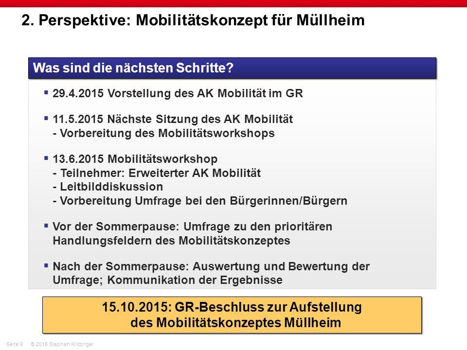 Seite 9© 2015 Stephan Kritzinger 2. Perspektive: Mobilitätskonzept für Müllheim Was sind die nächsten Schritte?  29.4.2015 Vorstellung des AK Mobilit