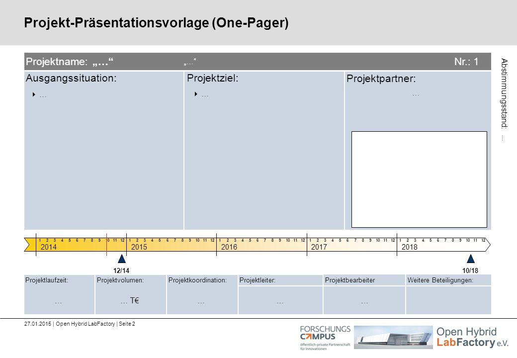 Ausgangssituation:Projektziel: Projektpartner: Projektkoordination:Projektlaufzeit:Projektvolumen:Projektleiter:ProjektbearbeiterWeitere Beteiligungen