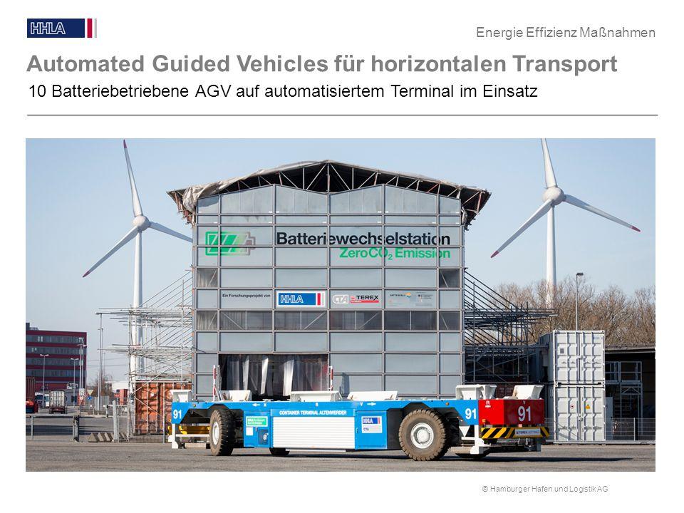 © Hamburger Hafen und Logistik AG Automated Guided Vehicles für horizontalen Transport Blindtext 10 Batteriebetriebene AGV auf automatisiertem Termina