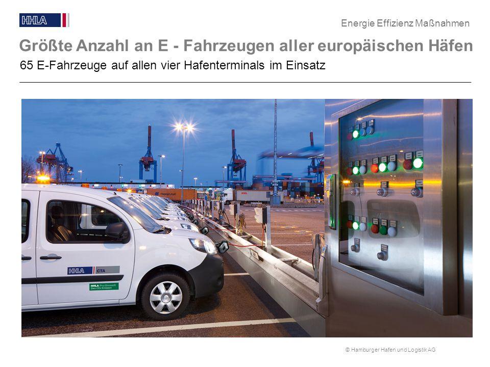© Hamburger Hafen und Logistik AG Größte Anzahl an E - Fahrzeugen aller europäischen Häfen Blindtext 65 E-Fahrzeuge auf allen vier Hafenterminals im E