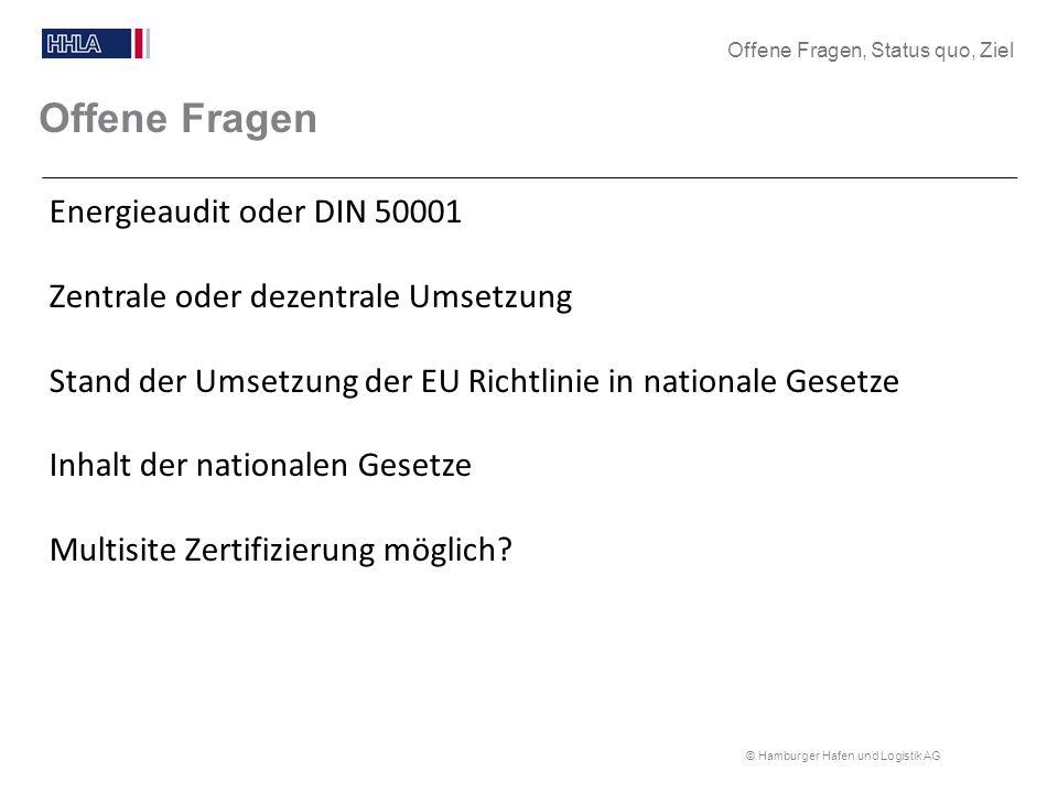© Hamburger Hafen und Logistik AG Offene Fragen Energieaudit oder DIN 50001 Zentrale oder dezentrale Umsetzung Stand der Umsetzung der EU Richtlinie i