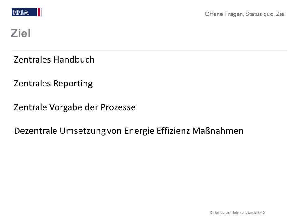 © Hamburger Hafen und Logistik AG Ziel Zentrales Handbuch Zentrales Reporting Zentrale Vorgabe der Prozesse Dezentrale Umsetzung von Energie Effizienz