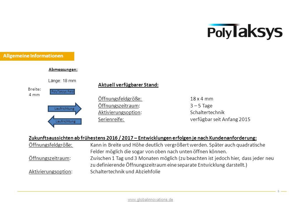 Allgemeine Informationen 6 Länge: 18 mm Breite: 4 mm PolyTaksys Feld Laufrichtung Abmessungen: Aktuell verfügbarer Stand: Öffnungsfeldgröße: 18 x 4 mm