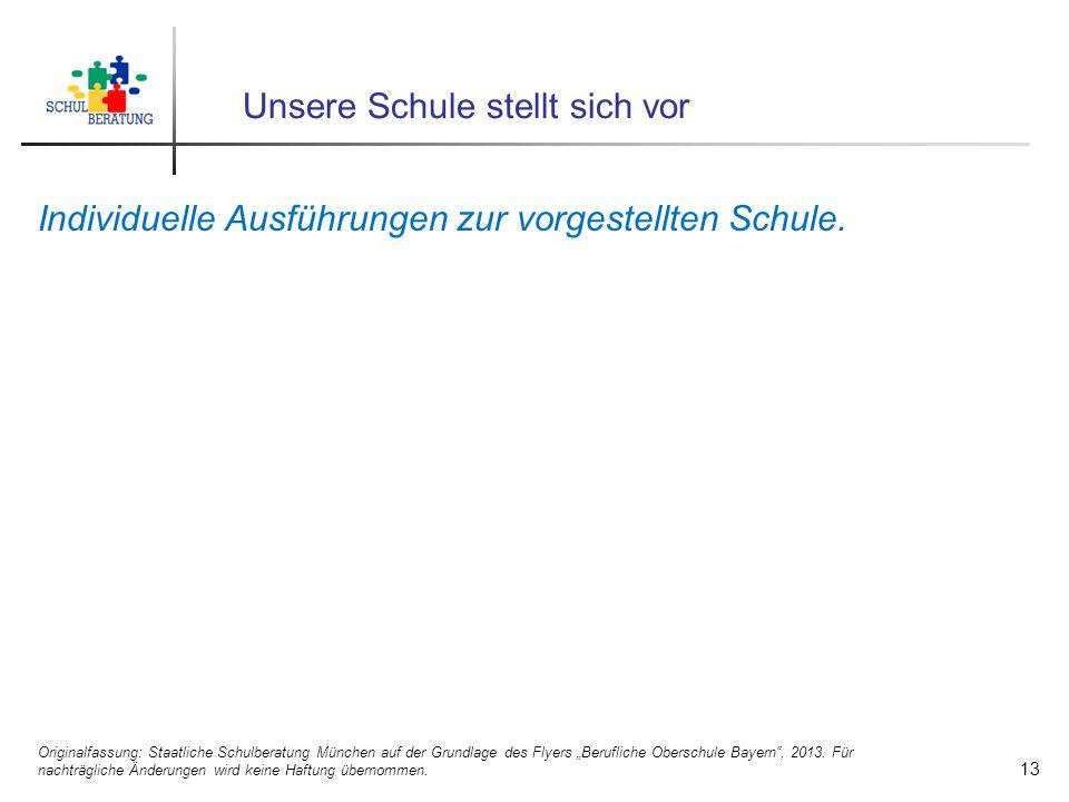 Unsere Schule stellt sich vor Individuelle Ausführungen zur vorgestellten Schule. Originalfassung: Staatliche Schulberatung München auf der Grundlage