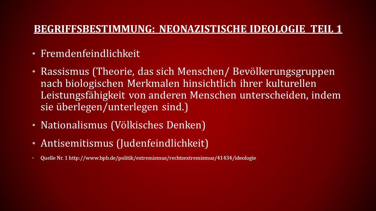BEGRIFFSBESTIMMUNG: NEONAZISTISCHE IDEOLOGIE TEIL 1 Fremdenfeindlichkeit Rassismus (Theorie, das sich Menschen/ Bevölkerungsgruppen nach biologischen Merkmalen hinsichtlich ihrer kulturellen Leistungsfähigkeit von anderen Menschen unterscheiden, indem sie überlegen/unterlegen sind.) Nationalismus (Völkisches Denken) Antisemitismus (Judenfeindlichkeit) Quelle Nr.