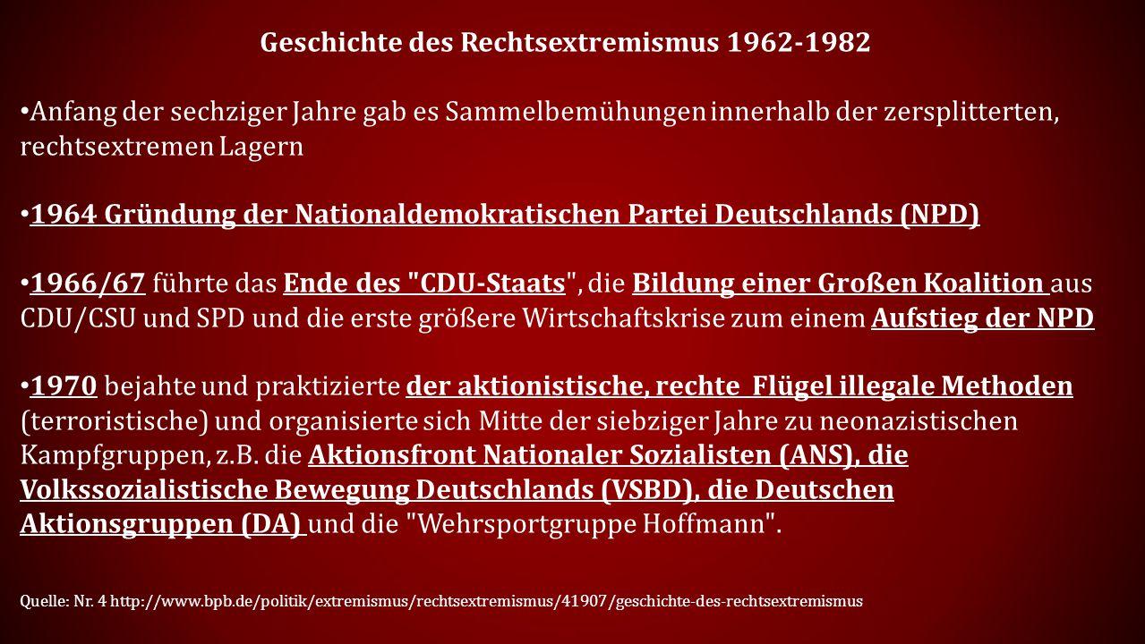 Geschichte des Rechtsextremismus 1962-1982 Anfang der sechziger Jahre gab es Sammelbemühungen innerhalb der zersplitterten, rechtsextremen Lagern 1964 Gründung der Nationaldemokratischen Partei Deutschlands (NPD) 1966/67 führte das Ende des CDU-Staats , die Bildung einer Großen Koalition aus CDU/CSU und SPD und die erste größere Wirtschaftskrise zum einem Aufstieg der NPD 1970 bejahte und praktizierte der aktionistische, rechte Flügel illegale Methoden (terroristische) und organisierte sich Mitte der siebziger Jahre zu neonazistischen Kampfgruppen, z.B.