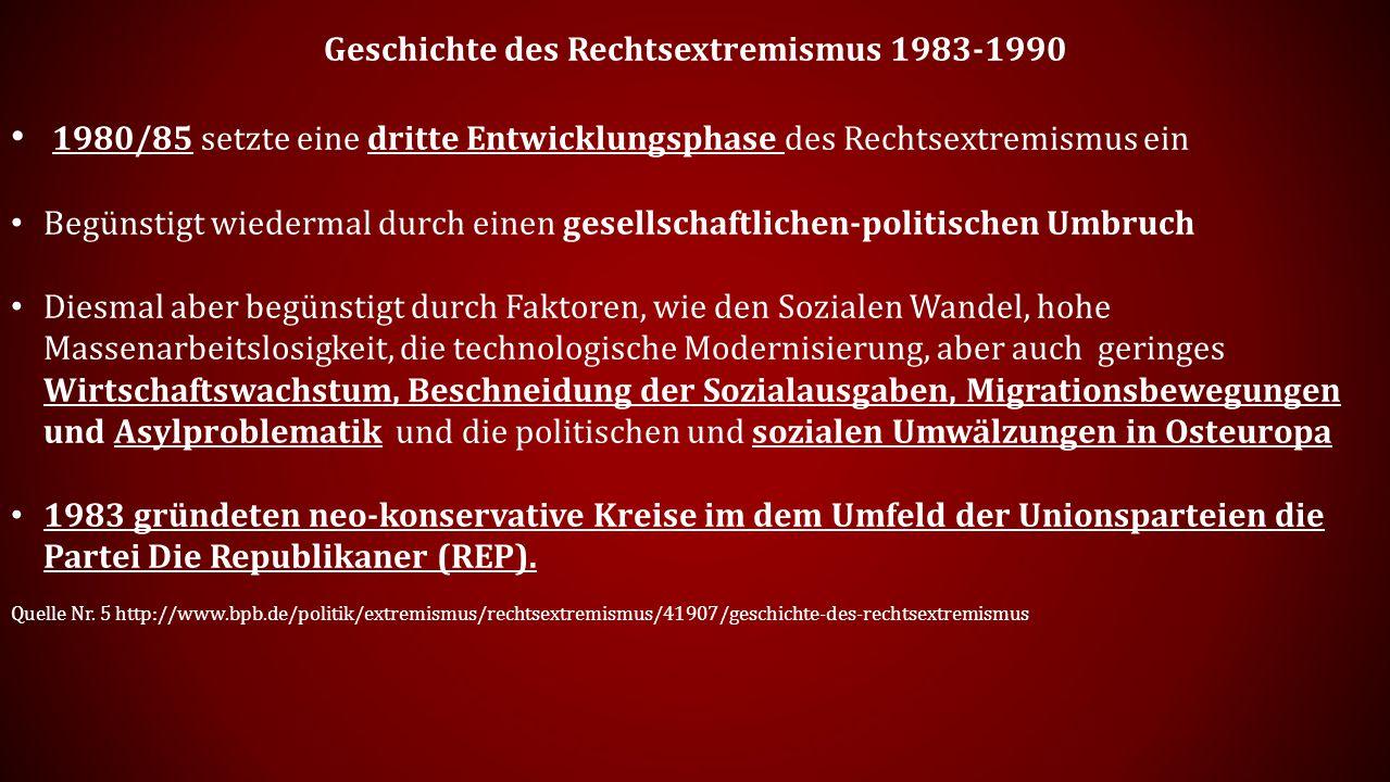 Geschichte des Rechtsextremismus 1983-1990 1980/85 setzte eine dritte Entwicklungsphase des Rechtsextremismus ein Begünstigt wiedermal durch einen gesellschaftlichen-politischen Umbruch Diesmal aber begünstigt durch Faktoren, wie den Sozialen Wandel, hohe Massenarbeitslosigkeit, die technologische Modernisierung, aber auch geringes Wirtschaftswachstum, Beschneidung der Sozialausgaben, Migrationsbewegungen und Asylproblematik und die politischen und sozialen Umwälzungen in Osteuropa 1983 gründeten neo-konservative Kreise im dem Umfeld der Unionsparteien die Partei Die Republikaner (REP).