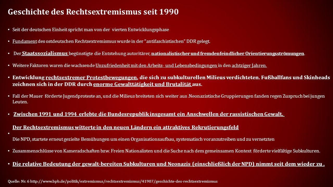 Geschichte des Rechtsextremismus seit 1990 Seit der deutschen Einheit spricht man von der vierten Entwicklungsphase Fundament des ostdeutschen Rechtsextremismus wurde in der antifaschistischen DDR gelegt.