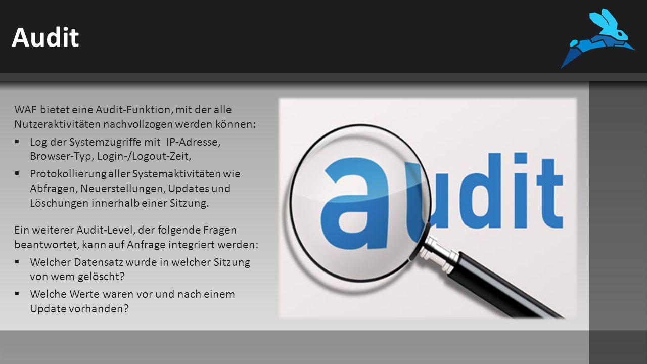 Audit WAF bietet eine Audit-Funktion, mit der alle Nutzeraktivitäten nachvollzogen werden können:  Log der Systemzugriffe mit IP-Adresse, Browser-Typ, Login-/Logout-Zeit,  Protokollierung aller Systemaktivitäten wie Abfragen, Neuerstellungen, Updates und Löschungen innerhalb einer Sitzung.