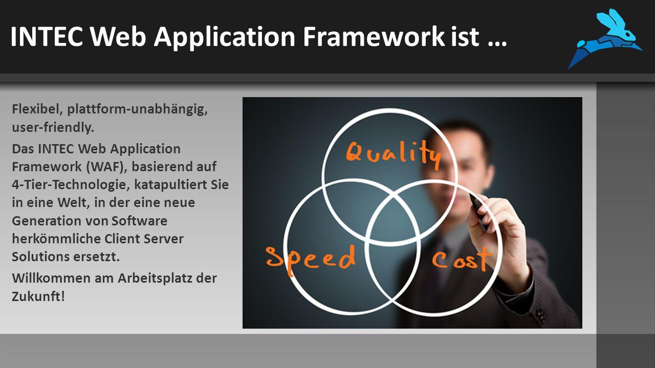 INTEC Web Application Framework bietet … Das INTEC Web Application Framework bietet ein einzigartiges benutzer- freundliches User Interface mit Multi-Desktop-Funktion für Softwaresysteme aller Art.