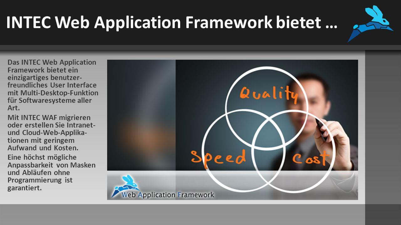 Key-Performance-Indikatoren (Cockpit) Die aktuelle Version des INTEC WAF unterstützt drei KPI- Typen  Listen  HTML-Informationsfenster  Grafiken Die KPIs basieren auf SELECT- Abfragen und können somit individuell erstellt werden.