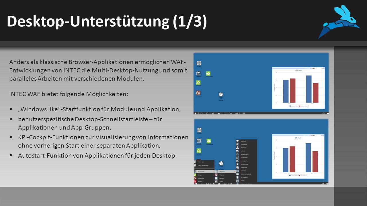 Desktop-Unterstützung (1/3) Anders als klassische Browser-Applikationen ermöglichen WAF- Entwicklungen von INTEC die Multi-Desktop-Nutzung und somit paralleles Arbeiten mit verschiedenen Modulen.