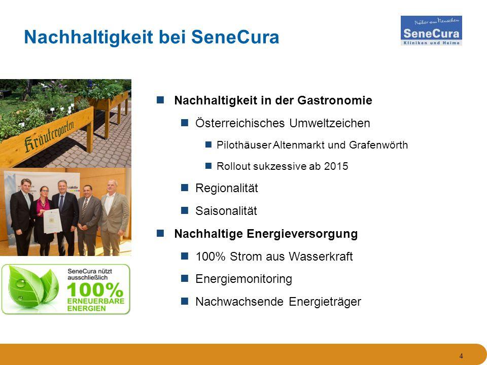 4 Nachhaltigkeit in der Gastronomie Österreichisches Umweltzeichen Pilothäuser Altenmarkt und Grafenwörth Rollout sukzessive ab 2015 Regionalität Saisonalität Nachhaltige Energieversorgung 100% Strom aus Wasserkraft Energiemonitoring Nachwachsende Energieträger Nachhaltigkeit bei SeneCura