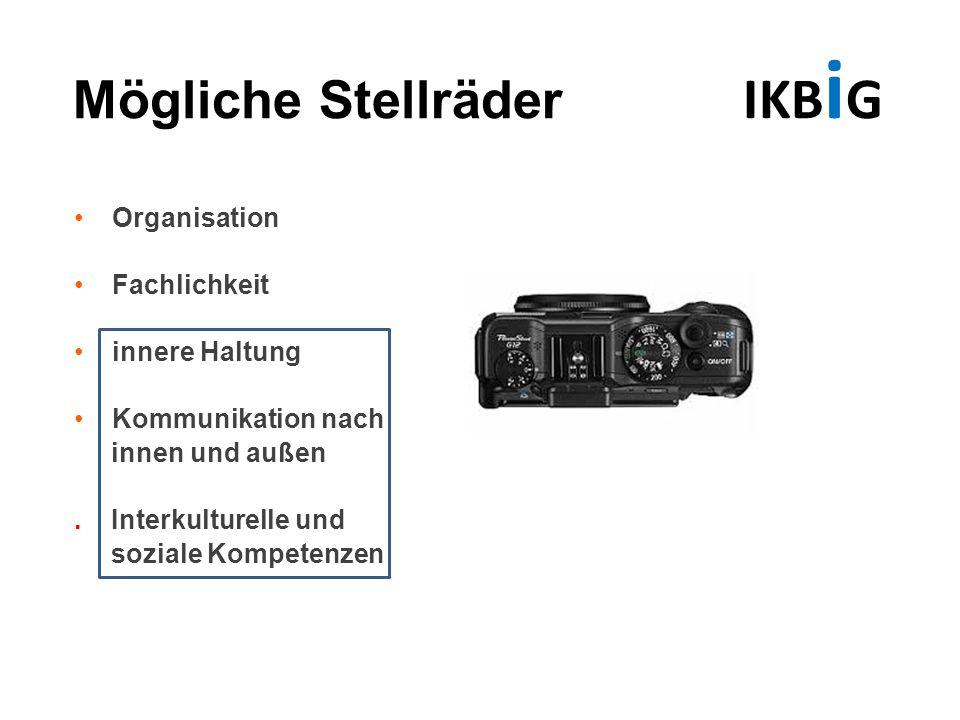 Mögliche Stellräder IKB i G Organisation Fachlichkeit innere Haltung Kommunikation nach innen und außen. Interkulturelle und soziale Kompetenzen