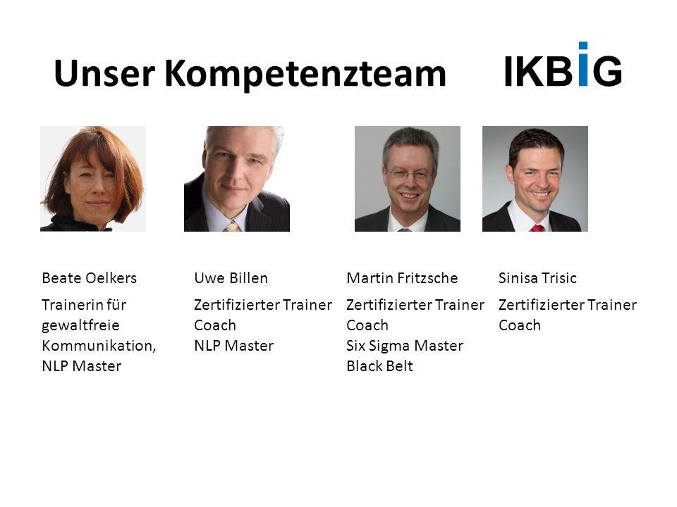 Unser Kompetenzteam IKB i G Beate OelkersUwe BillenMartin FritzscheSinisa Trisic Trainerin für gewaltfreie Kommunikation, NLP Master Zertifizierter Tr