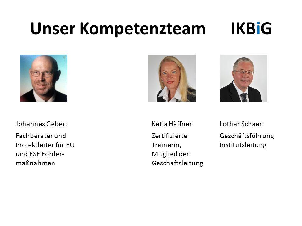 Unser Kompetenzteam IKBiG Johannes Gebert Katja HäffnerLothar Schaar Fachberater und Projektleiter für EU und ESF Förder- maßnahmen Zertifizierte Trai