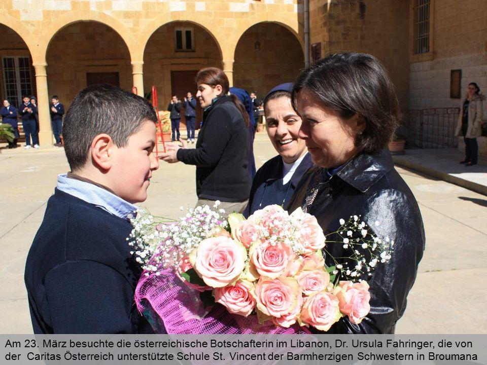 Am 23. März besuchte die österreichische Botschafterin im Libanon, Dr. Ursula Fahringer, die von der Caritas Österreich unterstützte Schule St. Vincen