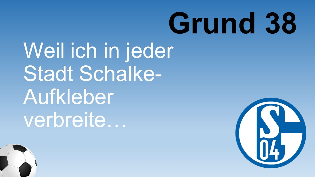 Weil ich in jeder Stadt Schalke- Aufkleber verbreite… Grund 38