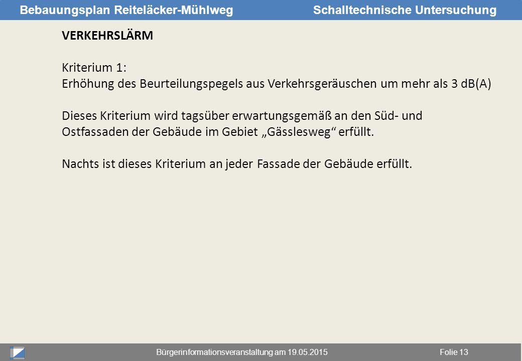 Bürgerinformationsveranstaltung am 19.05.2015Folie 13 Bebauungsplan Reiteläcker-MühlwegSchalltechnische Untersuchung VERKEHRSLÄRM Kriterium 1: Erhöhun
