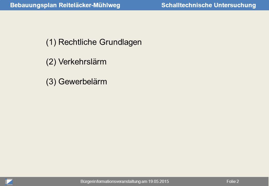 Bürgerinformationsveranstaltung am 19.05.2015Folie 2 Bebauungsplan Reiteläcker-MühlwegSchalltechnische Untersuchung (1)Rechtliche Grundlagen (2)Verkeh