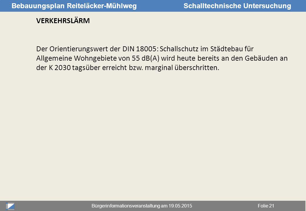 Bürgerinformationsveranstaltung am 19.05.2015Folie 21 Bebauungsplan Reiteläcker-MühlwegSchalltechnische Untersuchung VERKEHRSLÄRM Der Orientierungswer