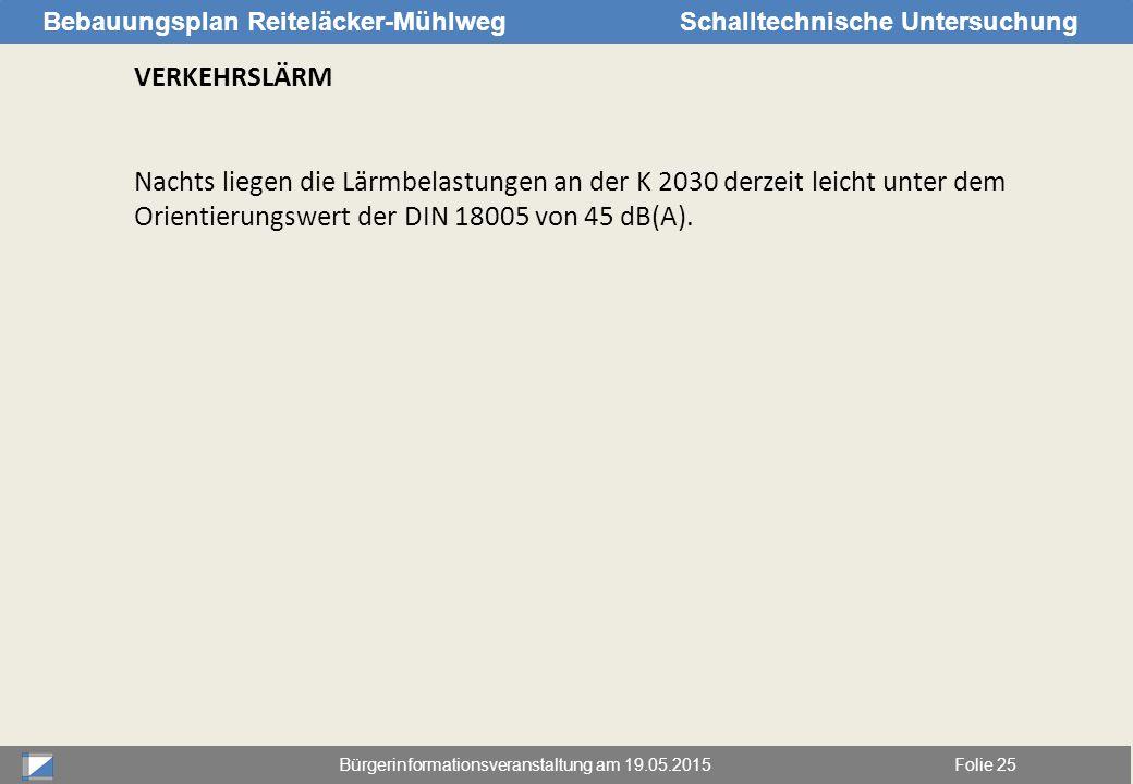 Bürgerinformationsveranstaltung am 19.05.2015Folie 25 Bebauungsplan Reiteläcker-MühlwegSchalltechnische Untersuchung VERKEHRSLÄRM Nachts liegen die Lä